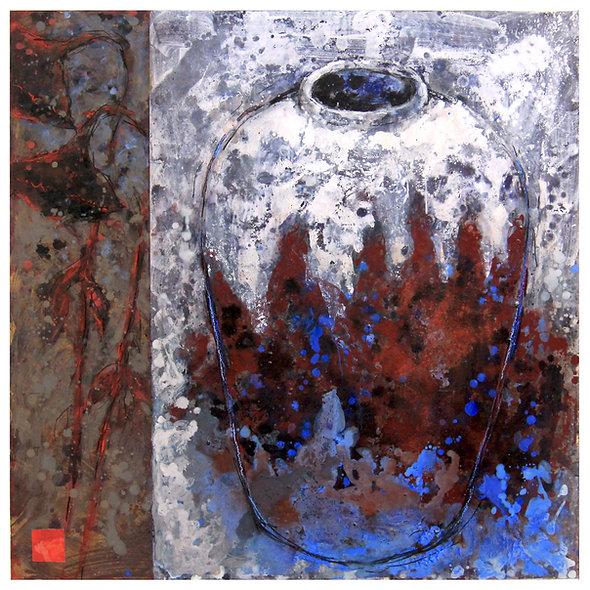 """Georges JOUSSAUME  n°4 """"vase bleu et tournesols"""""""