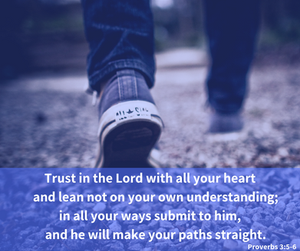Trust in the Lord with all your heart and lean not on your own understanding; in all your ways submit to him, and he will make your paths straight. -Proverbs 3:5-6