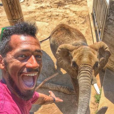 Thomas Reid with an African elephant.