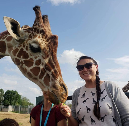 Christina O'Donnell with a Giraffe.