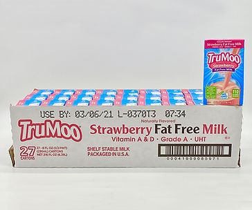TruMoo strawberry fat free milk 8oz case of 27