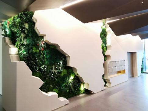 Mur végétal naturel stabilisé Elegance dans un hall