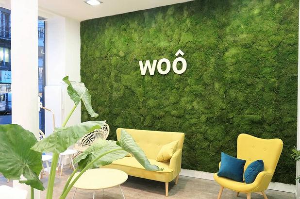 Mur végétal stabilisé en mousse dans une salle d'attente