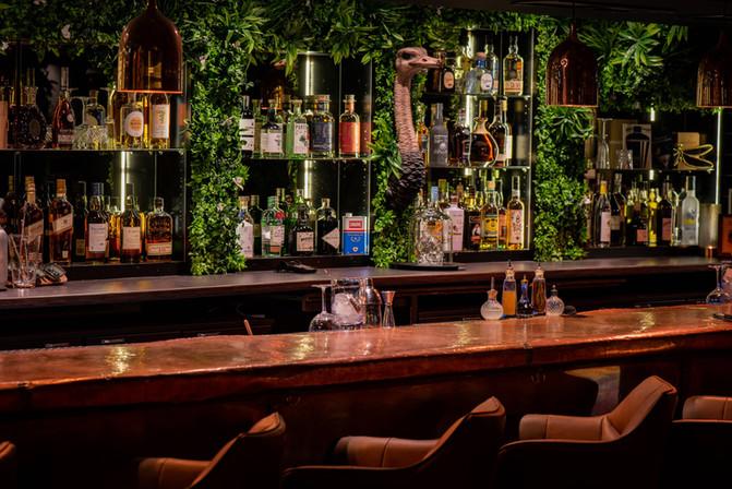 Mur végétal artificiel dans un restaurant