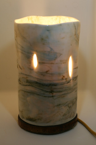 Porcelain White and Green Marbled Large White Table Lamp