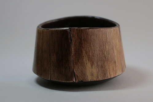 Stoneware & Wood Veneer Bowl