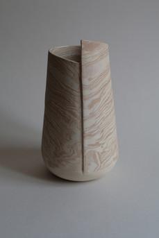 Strata Stoneware Vase White & Salmon