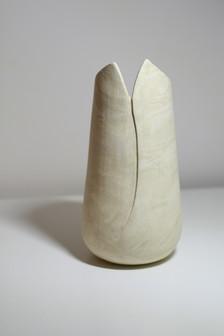 Stoneware Limestone Vase White & Cream