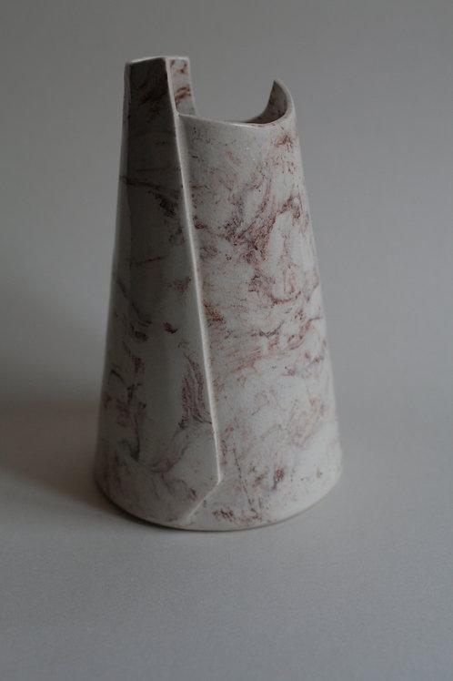 Porcelain White & Red Marbled Vase