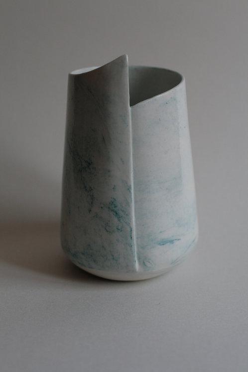 Porcelain White & Turquoise Marbled Vase