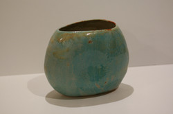 Turquoise stoneware vase