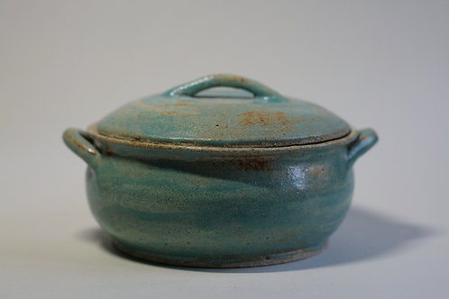 Stoneware Turquoise Cooking Pot