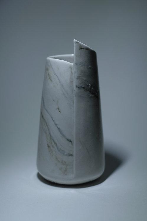 Porcelain White & Green Marbled Vase