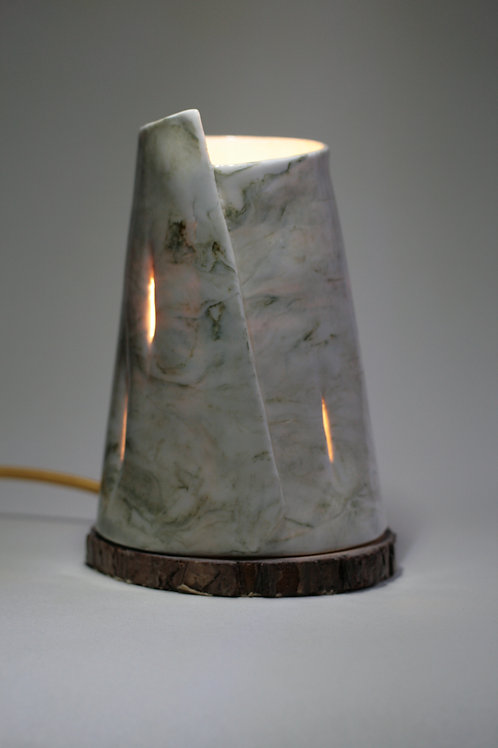 Porcelain White and Green Marbled Table Lamp