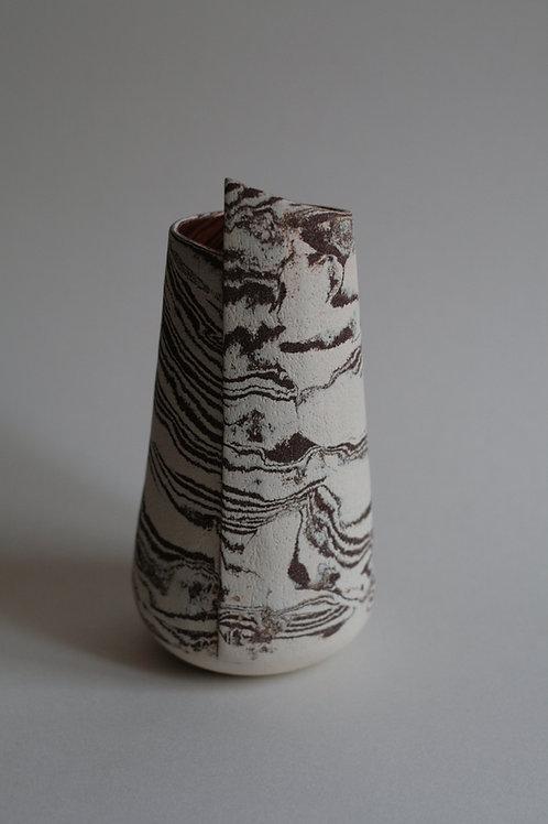 Strata White & Red Stoneware Vase