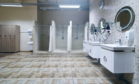 Public shower interior with everal showe