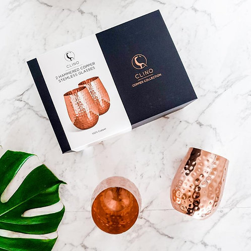 Stemless Hammered Copper Wine Glasses