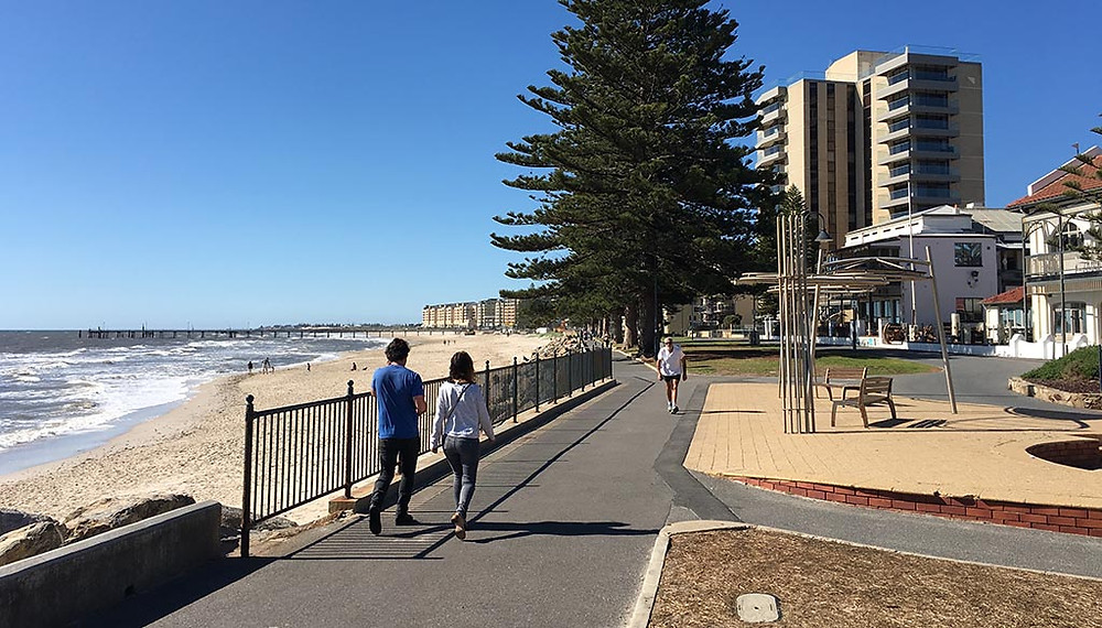 Ride you Me-Mover along the beachfront in Adelaide. One of the best places to Me-Move is the Coast Park Pathway