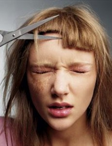 The problem with cutting your own fringe!