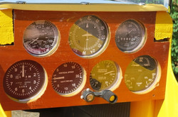 Closeup of instrument panel in plane