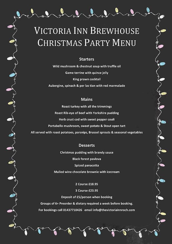 Victoria Inn Brewhouse Christmas Menu 20