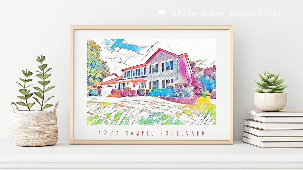 Watercolor Home Custom Printable File
