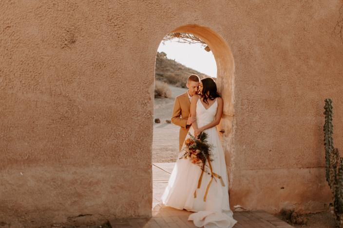 Modern Romantic Elopement at San Xavier Mission in Tuscon, AZ