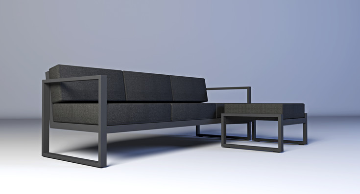 Dodeka-premise couch and ottoman- black