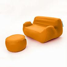 Oppblåsbare møbler er perfekte for messer eller eventer. Tar liten plass og monteres på få minutter. leveres med brodert logo eller fullprint.