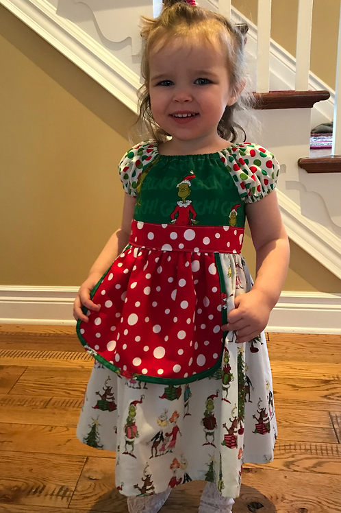 Girl's Size 2 Grinch Apron Dress