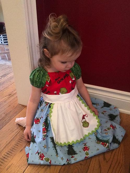 Girl's Size 2 Grinch Apron Dress