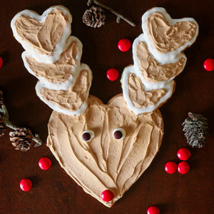 Rudolph The Reindeer Shaped Cookies With Heart Cookie Cutter