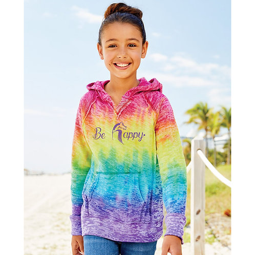 Be Happy Youth Tie Dye Hoodie MSRP $60