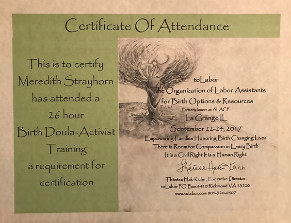 toLabor Certificate of Attendance