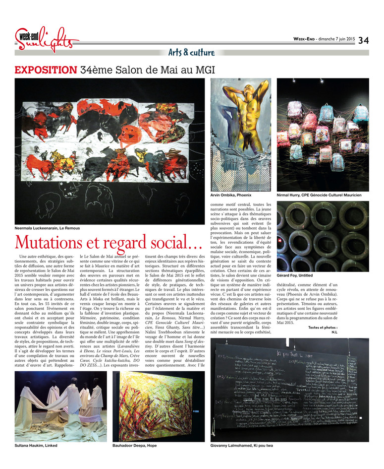 34th Salon de Mai, School of Fine Arts, Mahatma Gandhi Institute (MGI), Moka, Mauritius