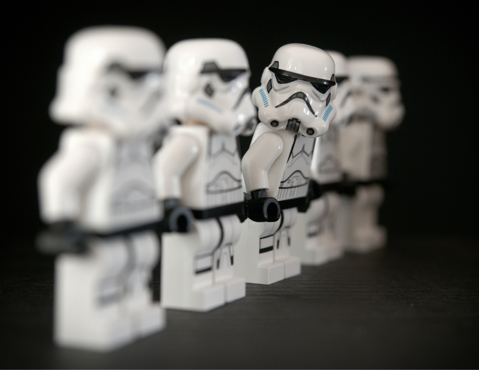 star wars storm trooper lego people in a line
