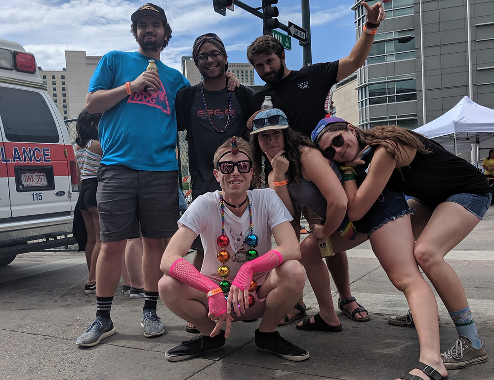 John Knetemann with a group of great friends at pridefest in Denver, Colorado