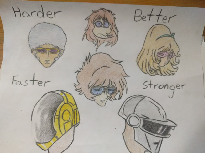 drawn characters from the Daft Punk movie Interstella 5555