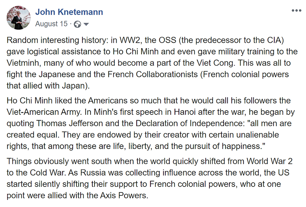 screenshot of a history post by John Knetemann