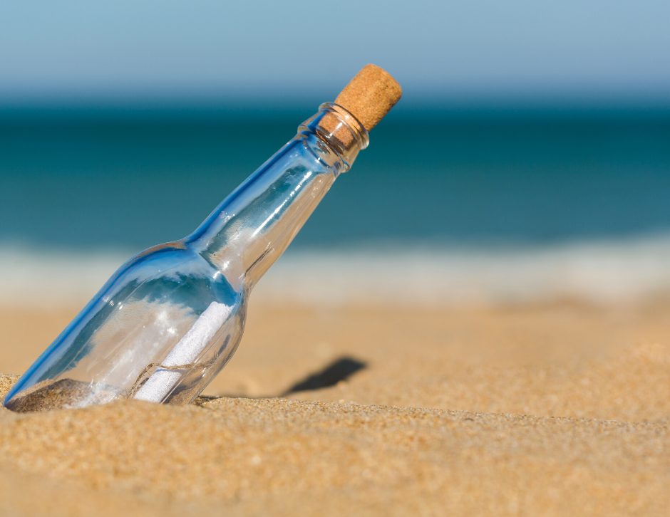 a stranded message in a bottle