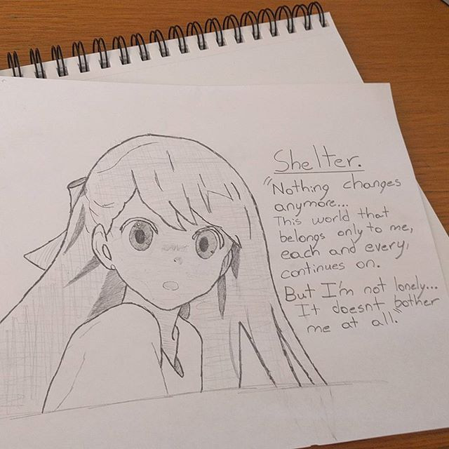 "drawn anime character from Porter Robinson's music video ""Shelter"""
