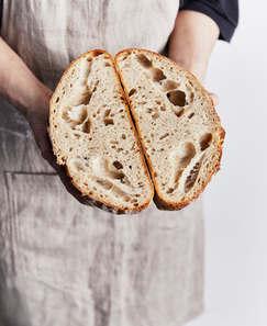 Sourdough Loaf Cut in Half