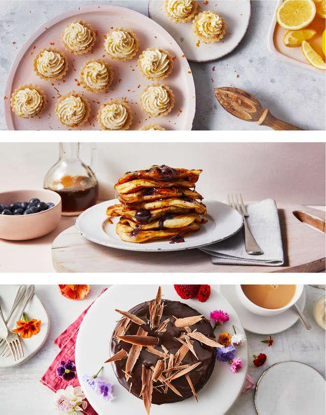 Lemon Meringue Tarts, Blueberry Pancakes, Chocolate Cake