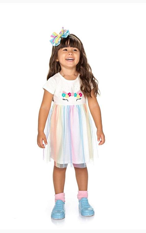 Vestido Infantil Carametade Tule Arco Iris Cod 4304