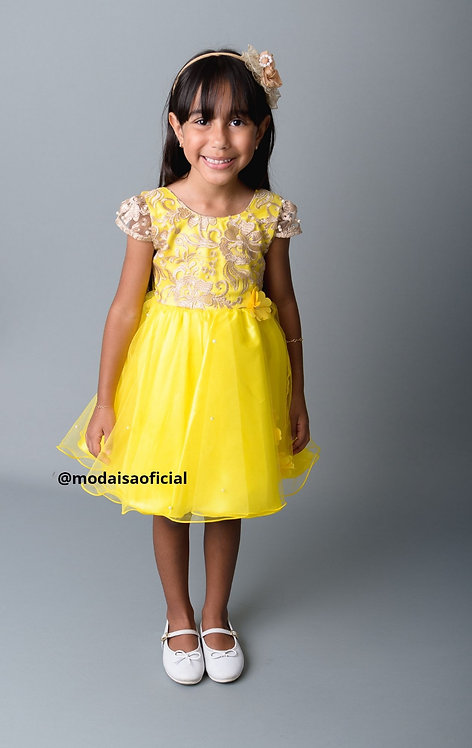 Vestido Amarelo Renda Chic Magia Colorida Ref 81856
