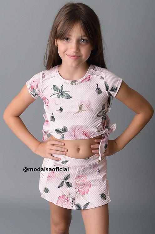Conjunto Infantil Kiki Xódo Shorts Saia e Blusa Rosas Cod 3533