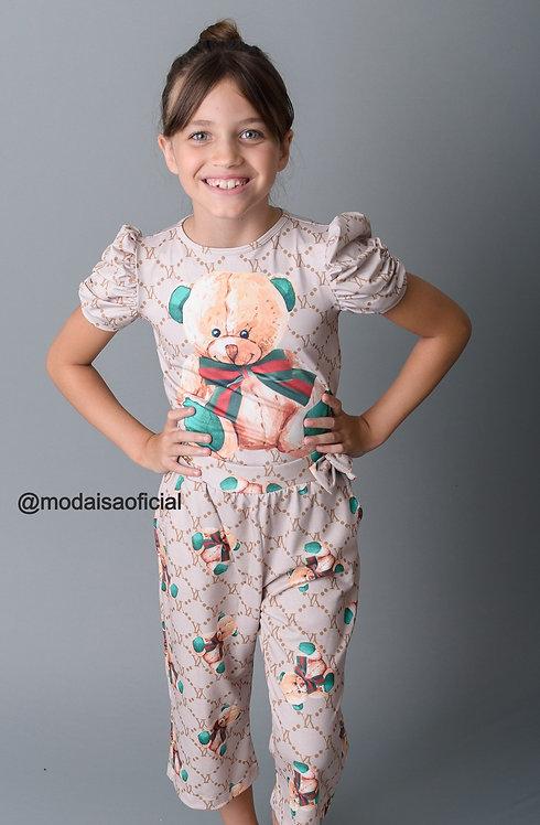 Calça Pantacourt Ursinho Gucci Infantil YoloveYo Ref 20881