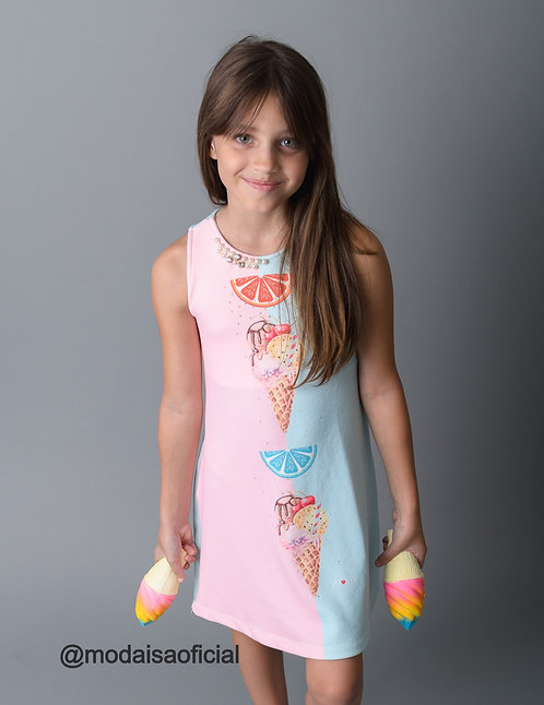 Vestido Infantil Sorvete Duo Cores YoLoveYo Ref 21031