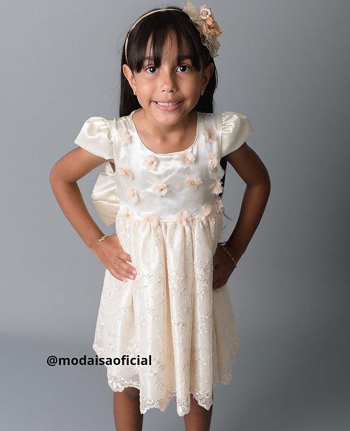 Vestido Flores e Renda Off White Magia Colorida Ref 81856