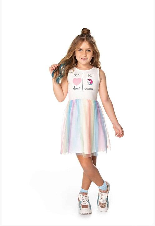 Vestido Infantil Carametade Amamos unicórnios Cod 4339